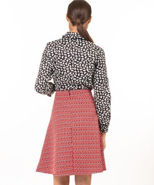 חצאית אליאנה אדום גאומטרי