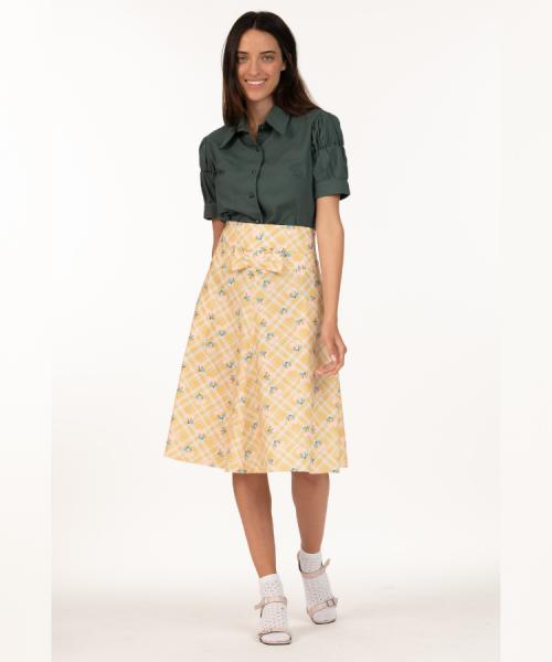 חצאית מילן חרדל דובדבנים